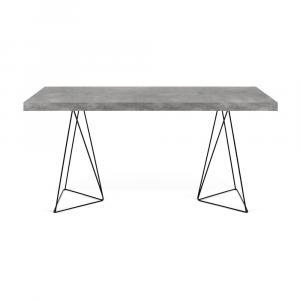 Pracovný stôl v dekore betónu s čiernou podnožou TemaHome Multi