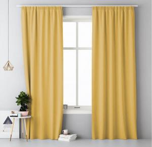Jednofarebný záves na štipce žltá 140 x 250 cm