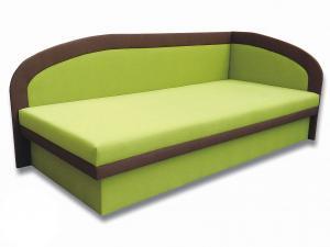 Jednolôžková posteľ (váľanda) 80 cm Melinda (Devon 001 zelená + Devon 009 hnedá) (P)