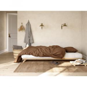Jednolôžková posteľ z masívneho borovicového dreva s matracom Karup Design Senza Double, 90 x 200 cm