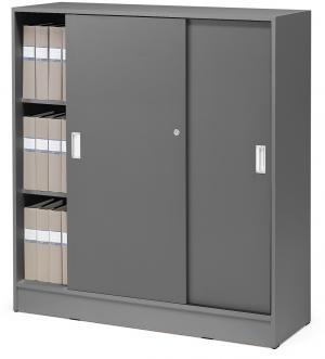 Kancelárska skriňa Flexus s posuvnými dverami, 1325x1200x415 mm, šedá