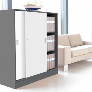 Kancelárska skriňa Flexus s posuvnými dverami, 1325x1200x415mm, šedá/biela