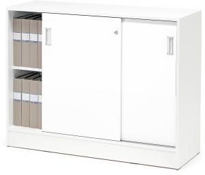 Kancelárska skriňa Flexus s posuvnými dverami, 925x1200x415 mm, biela