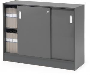Kancelárska skriňa Flexus s posuvnými dverami, 925x1200x415 mm, šedá