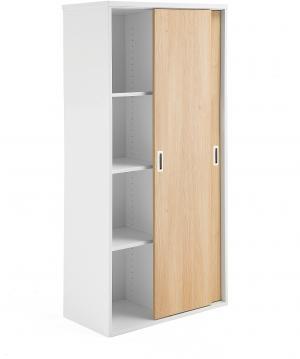 Kancelárska skriňa Modulus s posuvnými dverami, 1600x800 mm, biela / dub