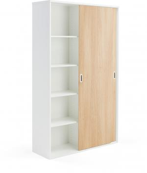 Kancelárska skriňa Modulus s posuvnými dverami, 2000x1200 mm, biela/dub