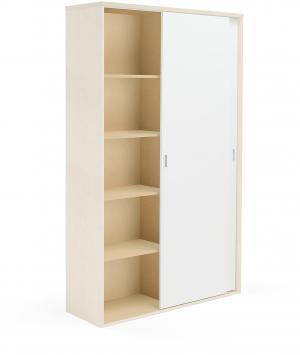 Kancelárska skriňa Modulus s posuvnými dverami, 2000x1200 mm, breza/biela