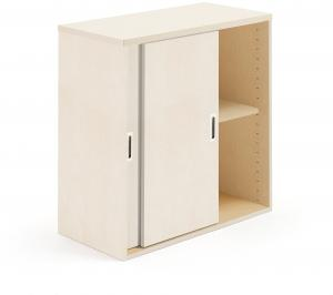 Kancelárska skriňa Modulus s posuvnými dverami, 800x800 mm, breza