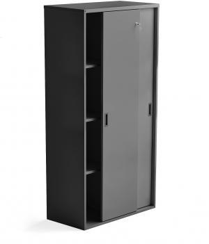 Kancelárska skriňa s posuvnými dverami Modulus, 1600x800 mm, čierna