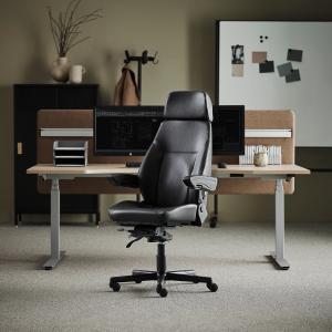 Kancelárska stolička Preston, na 24 hodinové sedenie, čierna koženka