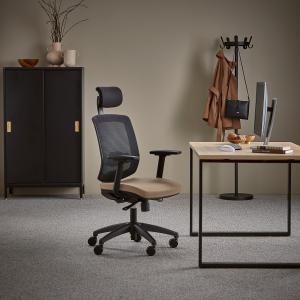 Kancelárska stolička Stanley, s opierkou hlavy a opierkami rúk, béžová