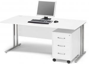 Kancelárska zostava Flexus: stôl 1600x800 mm + kancelársky kontajner, biela