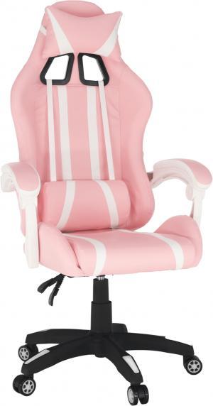 Kancelárske/herné kreslo, ružová/biela, PINKY