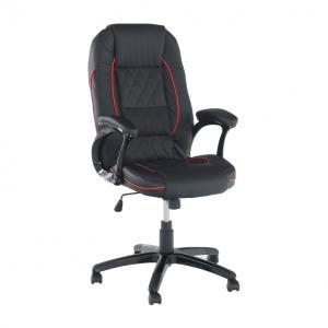 Kancelárske kreslo, ekokoža čierna/červený lem, PORSHE