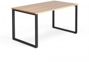 Kancelársky pracovný stôl Modulus, O-rám, 1400x800 mm, dub/čierna