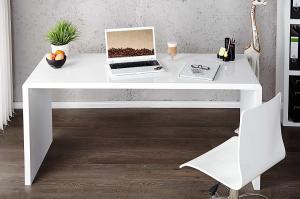 Kancelársky stôl Barter 140cm biely vysoký lesk