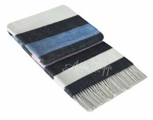 Kašmírová deka ANDORA Dark Grey  Blue Pink   140x200 cm