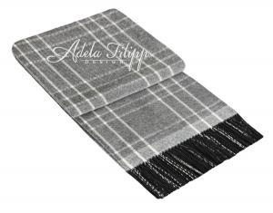 Kašmírová deka ANDORA Light Grey Karo   140x200 cm