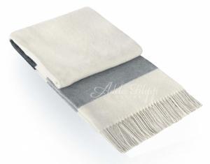 Kašmírová deka ANDORA White Grey   140x200 cm