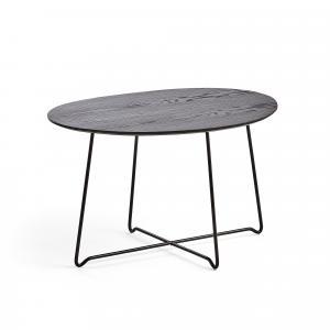 Kaviarenský stôl Iris, asymetrický, čierna, čierny dub