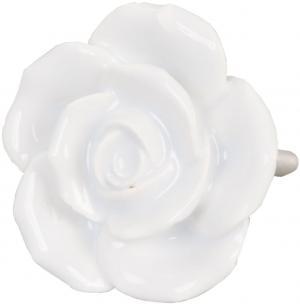 Keramická rukoväť Rose White - pr 4,5 cm