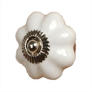 Keramická úchytka biela kvetina - Ø 3,5 cm