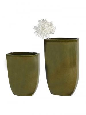 Keramická váza Ontario, 38 cm, zelená