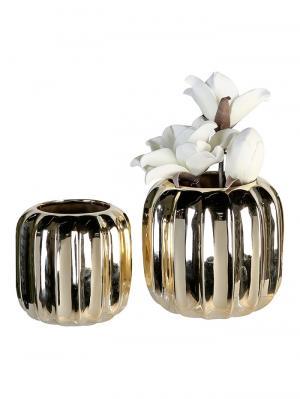 Keramická váza Rims, 17 cm, zlatá