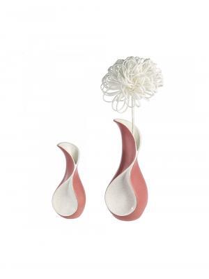 Keramická váza Swing, 23 cm, krémová/ružová