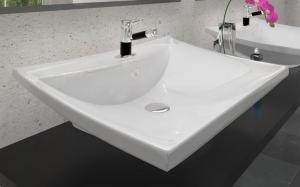 Keramické  umývadlo na dosku  a stenu CAPRISE 60 cm, biele