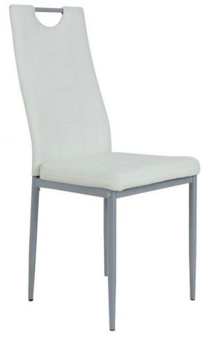 Jedálenská stolička Kim, biela ekokoža