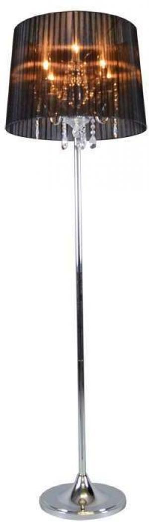 Klasická stojaca lampa chróm s čiernym tienidlom - Ann-Kathrin 5