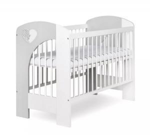 KLUPS - KLUPS Postieľka detská NEL Srdce 120x60 cm bielo-šedá
