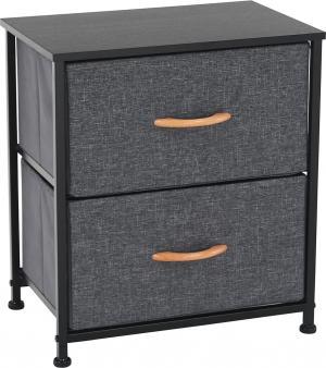 Komoda/nočný stolík s látkovými šuplíkmi, čierna/tmavosivá, PALMERA TYP 1