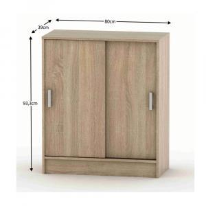Komoda s posúvacími dverami, dub sonoma, BETTY 4 BE04-009-00