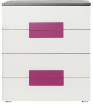 Komoda, sivá/biela/fialová, LOBETE 34