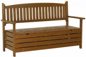 KONDELA Amula záhradná lavička s úložným priestorom hnedá
