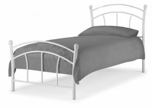 KONDELA Burzum 90 kovová jednolôžková posteľ s roštom biela