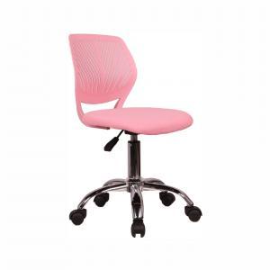 KONDELA Selva detská stolička na kolieskach ružová / chróm