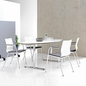 Konferenčná stolička Whistler, s opierkami rúk, šedá/biela/chróm