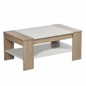 Konferenčný stolík, dub sonoma/biela, FINLEY