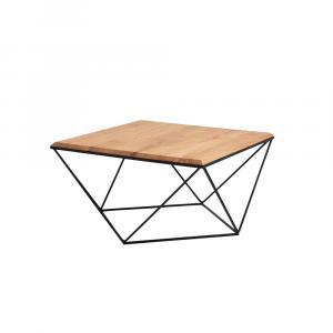 Konferenčný stolík s čiernou podnožou s doskou z masívneho dubu Custom Form Daryl, šírka 80 cm