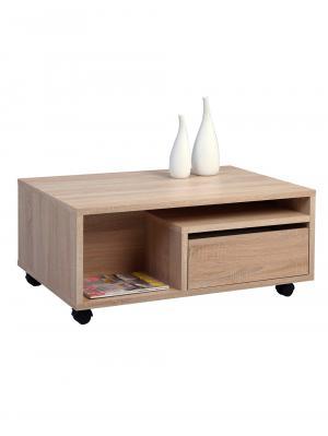 Konferenčný stolík so zásuvkami a kolieskami Clerk, 90 cm