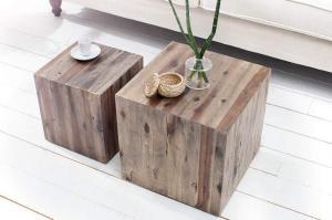 Konferenčný stolík z naplaveného dreva Columna – set 2 ks »