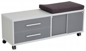 KONTAJNER NA KOLIESKACH, 133/55/40 cm - antracitová, sivá, biela