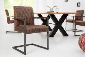 Konzolová stolička Boss vintage hnedá s podrúčkami