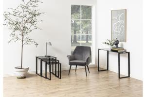 Konzolový stôl Nefertiti 110 cm sklo dym