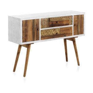 Konzolový stôl s bielymi detailmi a dvoma zásuvkami Geese Rustico Puro
