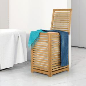Kôš na bielizeň, lakovaný bambus/béžová, BASKET