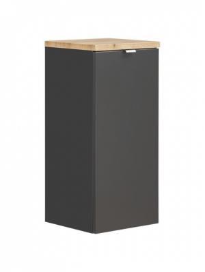 Koupelnová skříňka LOW CAPRI s košem na prádlo černý mat/zlatý dub